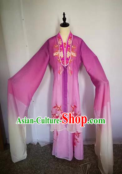 Chinese Peking Opera Princess Purple Dress Traditional Beijing Opera Diva Embroidered Costumes for Adults