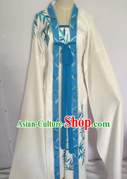 Chinese Peking Opera Young Lady White Dress Traditional Beijing Opera Diva Costumes for Adults