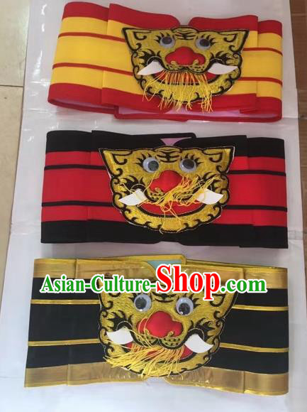 Chinese Traditional Beijing Opera Belts Peking Opera General Tiger Head Waistband for Adults