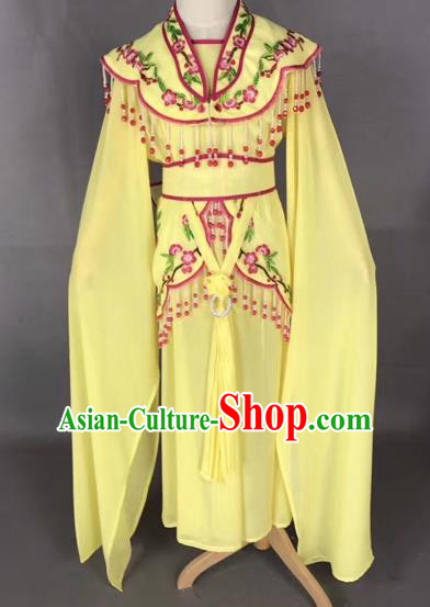 Chinese Ancient Peking Opera Children Yellow Dress Traditional Beijing Opera Diva Costumes for Kids
