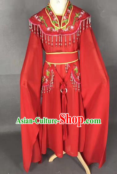 Chinese Ancient Peking Opera Children Red Dress Traditional Beijing Opera Diva Costumes for Kids
