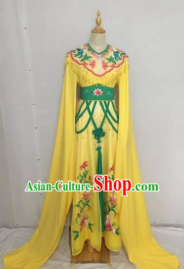 Traditional Chinese Peking Opera Rich Lady Costume Beijing Opera Diva Fairy Yellow Dress for Adults