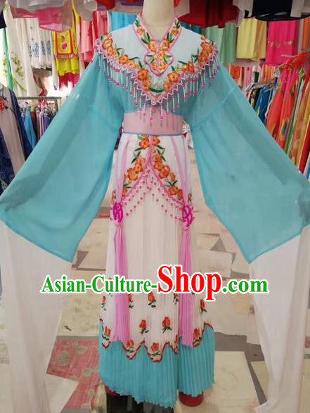 Traditional Chinese Peking Opera Princess Fairy Costume Beijing Opera Diva Blue Dress for Adults