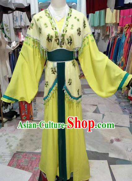 Chinese Shaoxing Opera Palace Princess Yellow Dress Traditional Beijing Opera Diva Costume for Adults