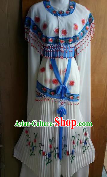 Chinese Beijing Opera Nobility Lady White Dress Ancient Princess Costume for Adults