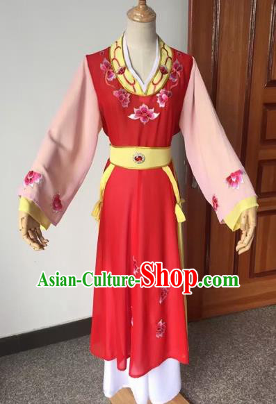 Chinese Beijing Opera Young Lady Red Dress Ancient Maidservants Costume for Adults