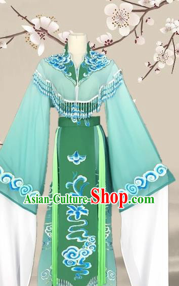 Chinese Traditional Beijing Opera Actress Green Clothing Ancient Princess Costume for Adults