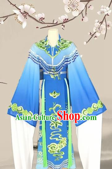 Chinese Traditional Beijing Opera Actress Blue Clothing Ancient Princess Costume for Adults