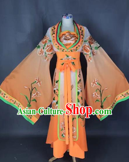 Chinese Traditional Peking Opera Diva Orange Embroidered Dress Ancient Imperial Consort Costume for Adults
