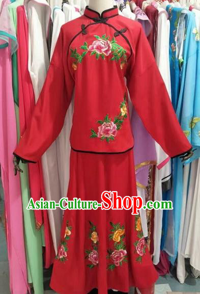 Chinese Traditional Peking Opera Actress Embroidered Dress Ancient Maidservants Costume for Adults