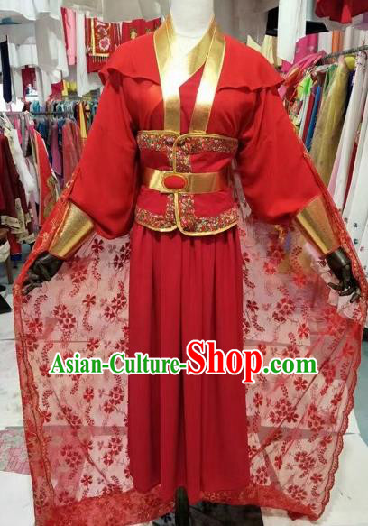 Chinese Traditional Peking Opera Actress Red Embroidered Dress Ancient Swordswoman Costume for Adults
