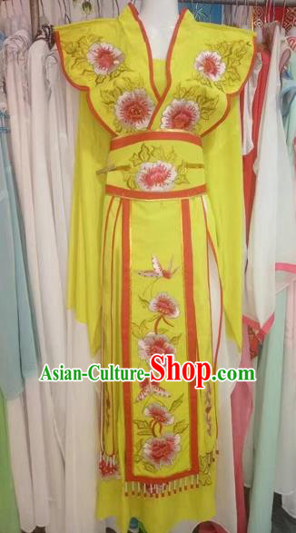 Chinese Traditional Peking Opera Actress Yellow Dress Ancient Princess Embroidered Costume for Adults