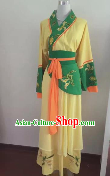 Chinese Huangmei Opera Maidservants Yellow Dress Traditional Beijing Opera Diva Costume for Adults