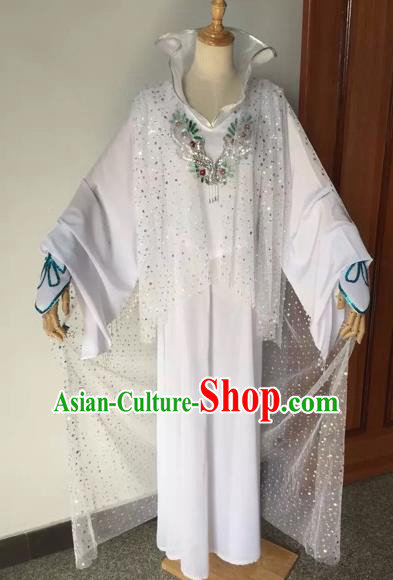 Chinese Traditional Peking Opera Diva White Dress Ancient Palace Lady Costume for Adults