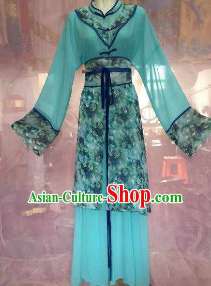 Chinese Beijing Opera Maidservants Green Clothing Ancient Countrywoman Costume for Adults
