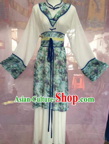Chinese Beijing Opera Maidservants White Clothing Ancient Countrywoman Costume for Adults