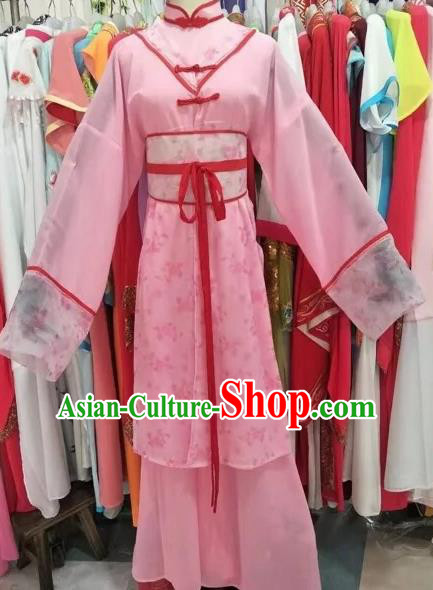 Chinese Beijing Opera Maidservants Pink Clothing Ancient Countrywoman Costume for Adults