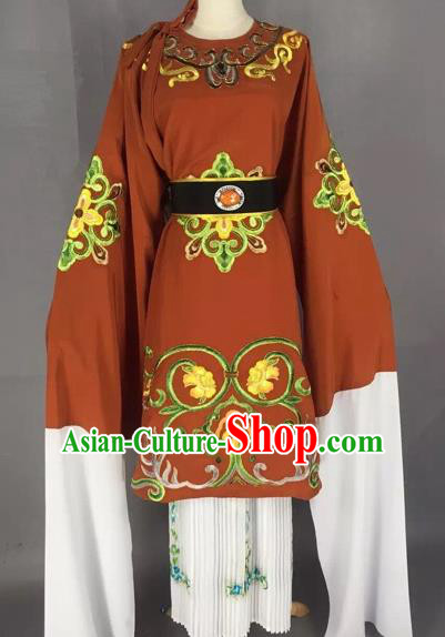 Chinese Beijing Opera Pantaloon Brown Clothing Ancient Old Woman Costume for Adults
