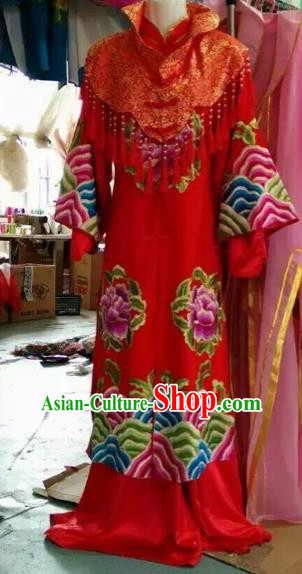 Chinese Traditional Peking Opera Red Hanfu Dress Ancient Bride Wedding Costume for Adults
