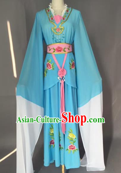 Chinese Beijing Opera Maidservants Blue Clothing Ancient Palace Lady Costume for Adults