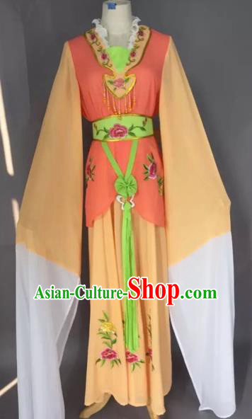 Chinese Beijing Opera Maidservants Orange Clothing Ancient Palace Lady Costume for Adults