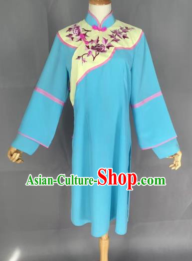 Chinese Traditional Peking Opera Actress Blue Blouse Ancient Countrywoman Costume for Adults
