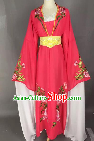 Chinese Beijing Opera Actress Rosy Dress Ancient Rich Lady Costume for Adults