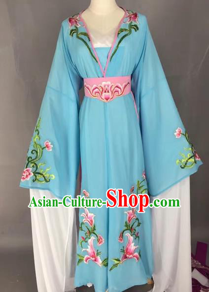 Chinese Beijing Opera Actress Blue Dress Ancient Rich Lady Costume for Adults