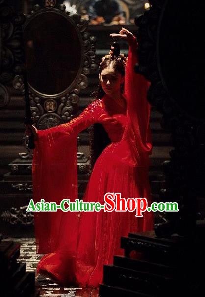 Chinese Ancient Palace Lady Costumes Legend Of Fu Yao Swordswoman Red Dress for Women