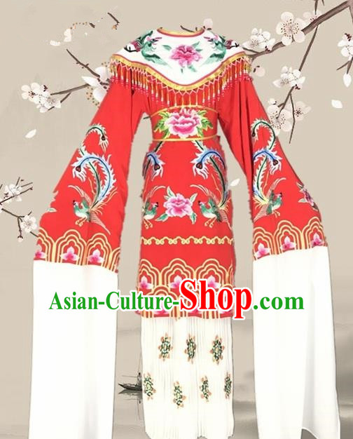 Chinese Traditional Beijing Opera Actress Red Dress Ancient Palace Empress Costume for Adults