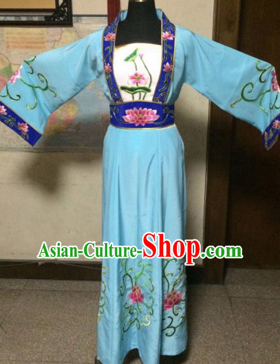Chinese Ancient Maidservants Blue Dress Traditional Beijing Opera Diva Costume for Adults