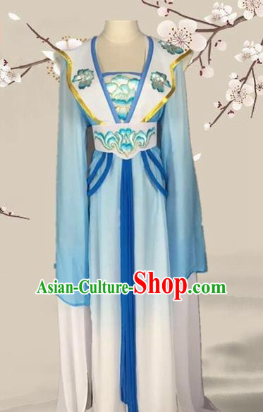 Chinese Ancient Palace Princess Blue Dress Traditional Beijing Opera Diva Costume for Adults