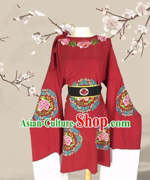 Chinese Ancient Dowager Countess Wine Red Clothing Traditional Beijing Opera Pantaloon Costume for Adults