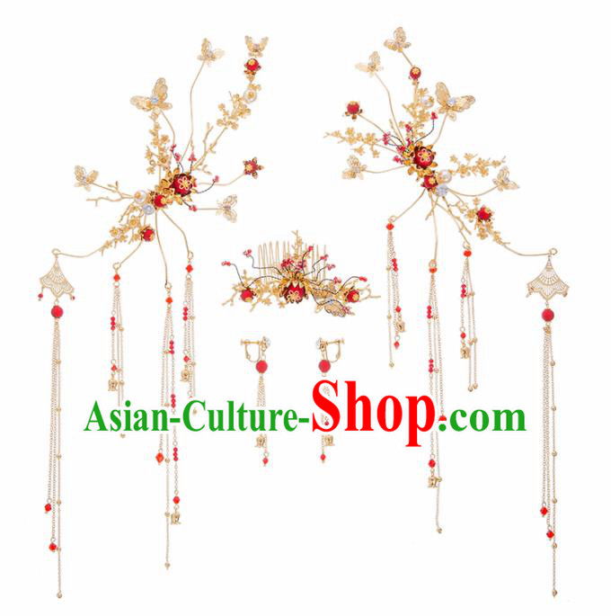 Chinese Ancient Hanfu Wedding Hair Accessories Traditional Hairpins Complete Set for Women