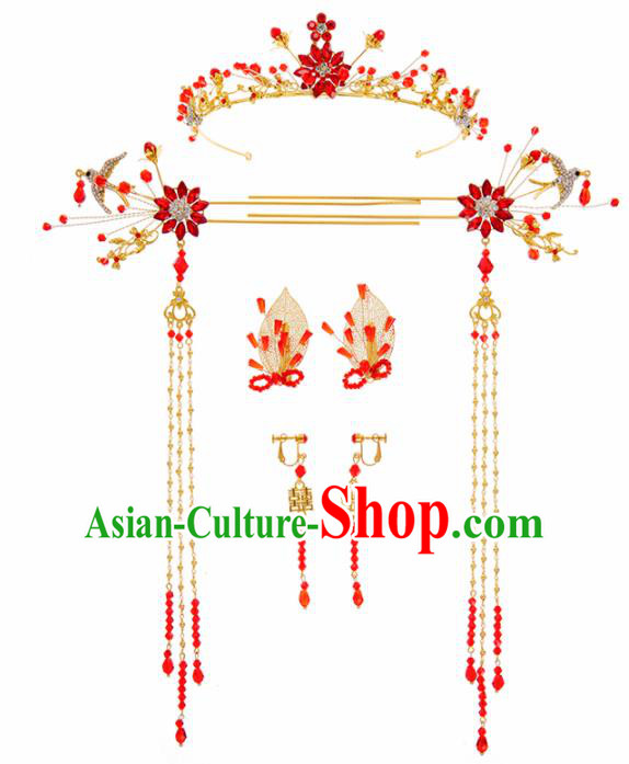 Chinese Ancient Hanfu Wedding Hair Accessories Traditional Tassel Step Shake Hairpins for Women