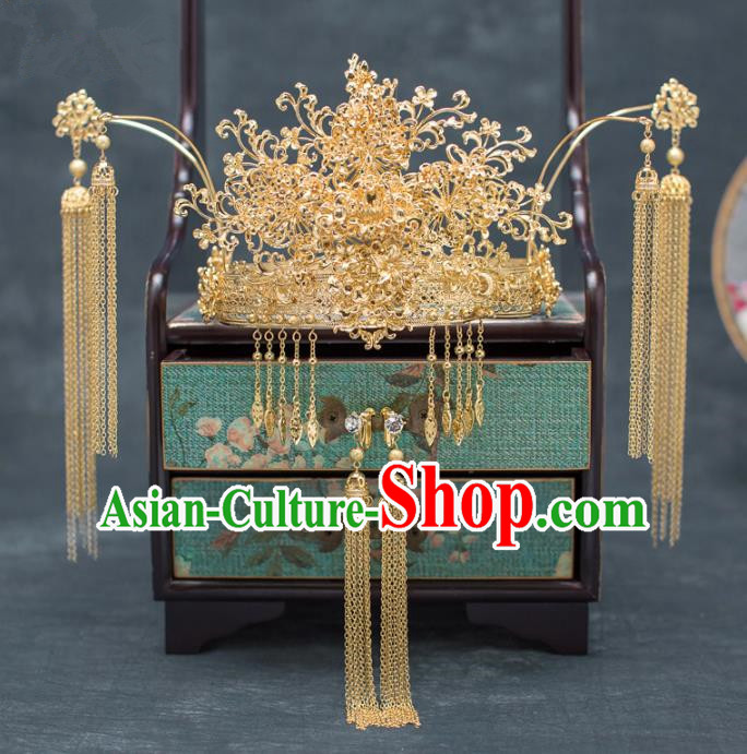 Chinese Ancient Hanfu Wedding Hair Accessories Traditional Golden Phoenix Coronet Hairpins for Women