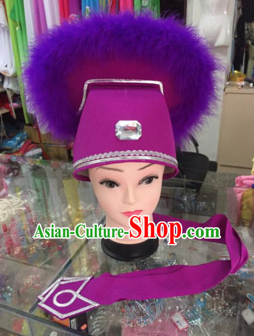 Chinese Traditional Beijing Opera Niche Purple Hat for Men