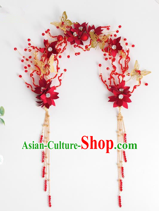 Chinese Ancient Hanfu Wedding Red Flowers Hair Clasp Hair Accessories Traditional Tassel Hairpins for Women