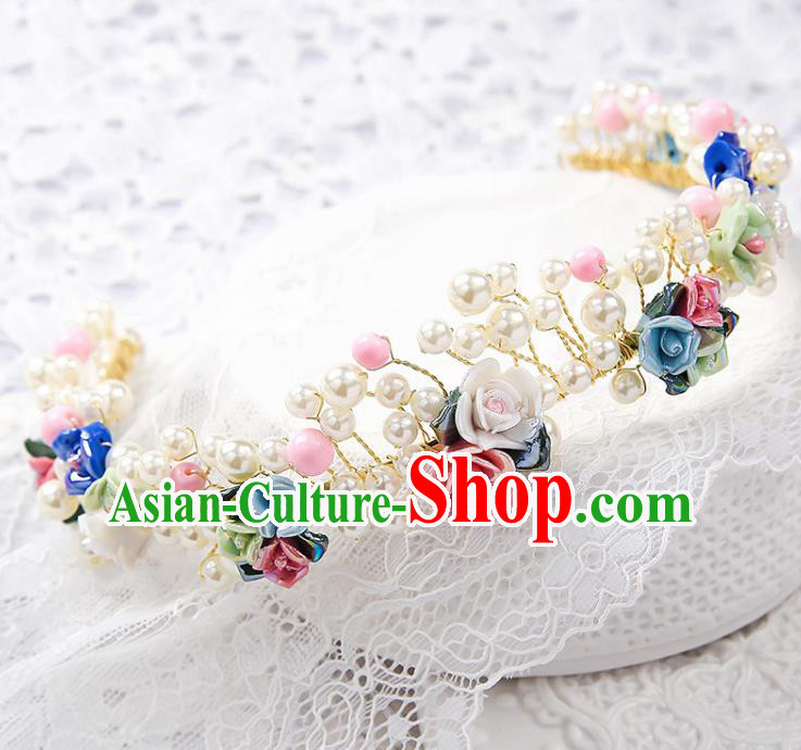 Top Grade Wedding Hair Accessories Bride Flowers Royal Crown Headwear for Women