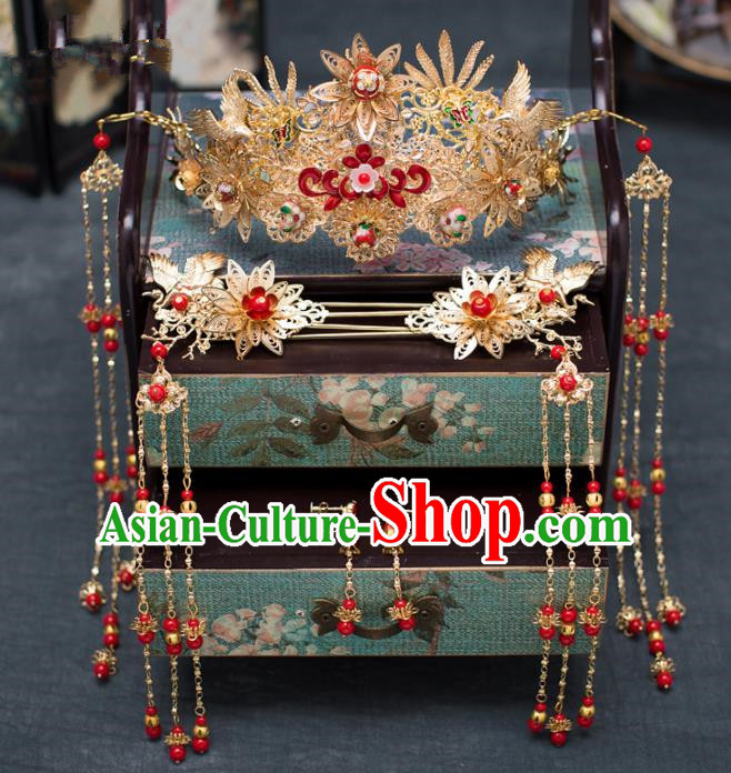 Chinese Ancient Phoenix Coronet Wedding Hair Accessories Traditional Hairpins for Women