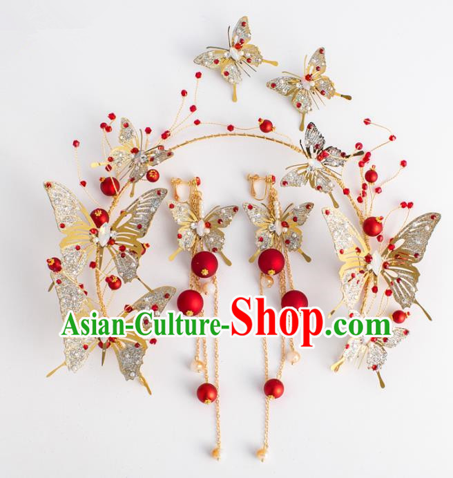 Top Grade Wedding Hair Accessories Bride Crystal Golden Butterfly Royal Crown Headwear for Women