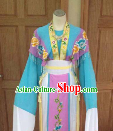 Chinese Ancient Fairy Blue Hanfu Dress Traditional Beijing Opera Actress Costume for Adults