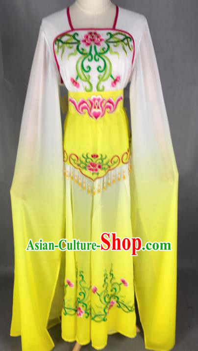 Chinese Ancient Court Maid Yellow Dress Traditional Beijing Opera Diva Costume for Adults