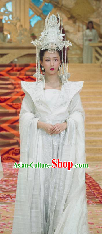 Chinese Ancient Peri Queen Hanfu Dress The Honey Sank Like Frost Empress Costumes and Headpiece for Women