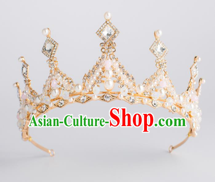 Top Grade Wedding Hair Accessories Bride Crystal Golden Royal Crown Headwear for Women