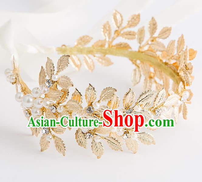 Top Grade Bride Wedding Hair Accessories Golden Leaf Hair Clasp for Women