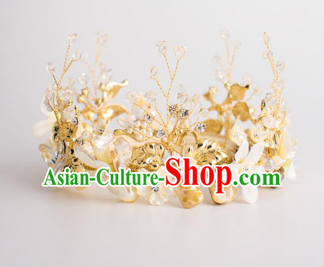 Top Grade Wedding Hair Accessories Bride Retro Round Pearls Shell Royal Crown for Women