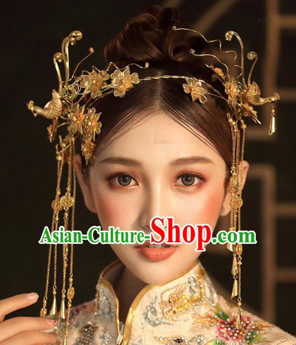 Chinese Ancient Golden Tassel Step Shake Wedding Hair Accessories Golden Phoenix Traditional Hairpins for Women