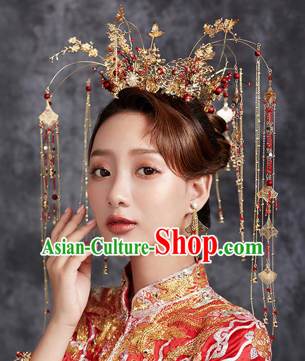 Chinese Ancient Tassel Phoenix Coronet Wedding Hair Accessories Traditional Hairpins for Women