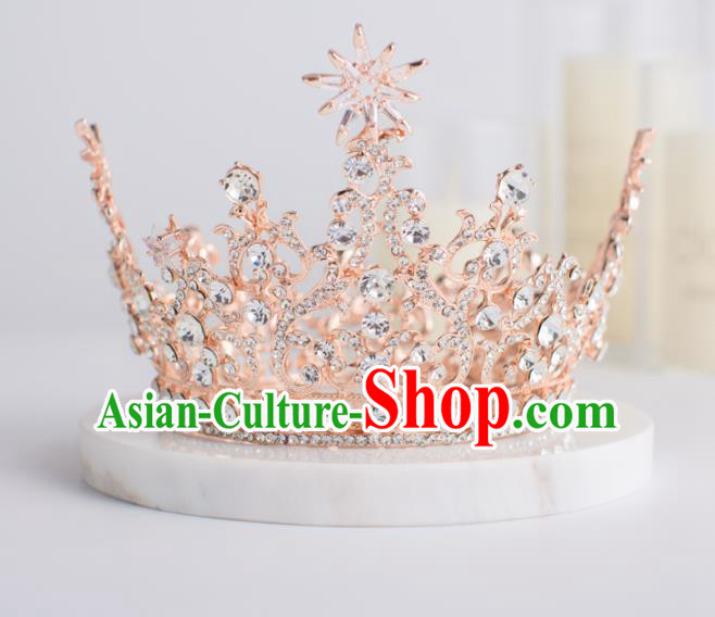 Top Grade Wedding Hair Accessories Bride Retro Pink Round Royal Crown for Women